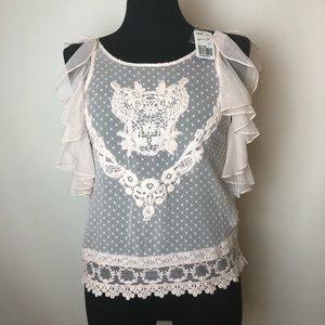 Top Blouse New Pink Ruffles Small S Lace Shirt